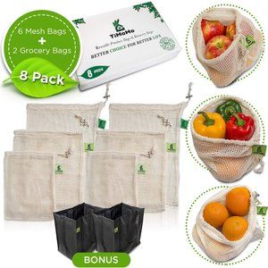 Reusable Produce Bags With Reusable Grocery Bags